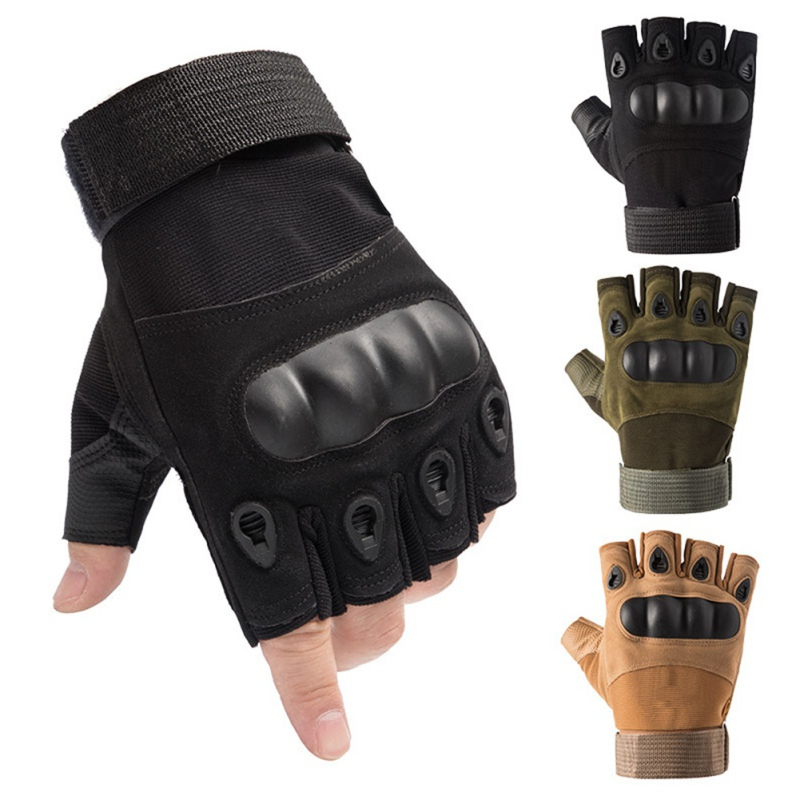 Mens Tactical Carbon Fiber Hard Knuckle Half-Finger Gloves Army Military Combat Fingerless Outdoor Gloves