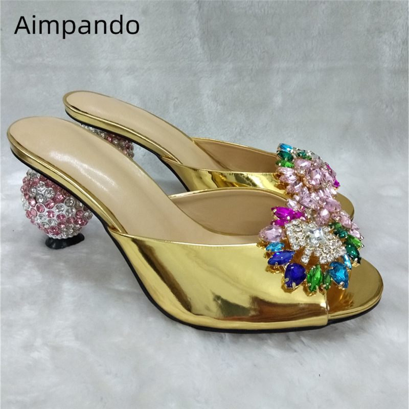 Luxury Jeweled Ball Heel Slippers Women Colorful Crystal Flower Decor Summer Shoes Gold Patent Leather Peep Toe Shoes Woman