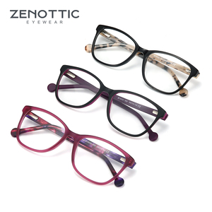 Image 5 - ZENOTTIC asetat kare kadınlar için gözlük çerçeveleri miyopi hipermetrop optik gözlük gözlük çerçeveleri reçete gözlük