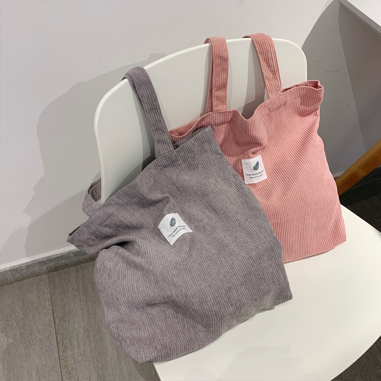 Bags for Women 2021 Corduroy Shoulder Bag Reusable Shopping Bags Casual Tote Female Handbag for A Certain Number of Dropshipping