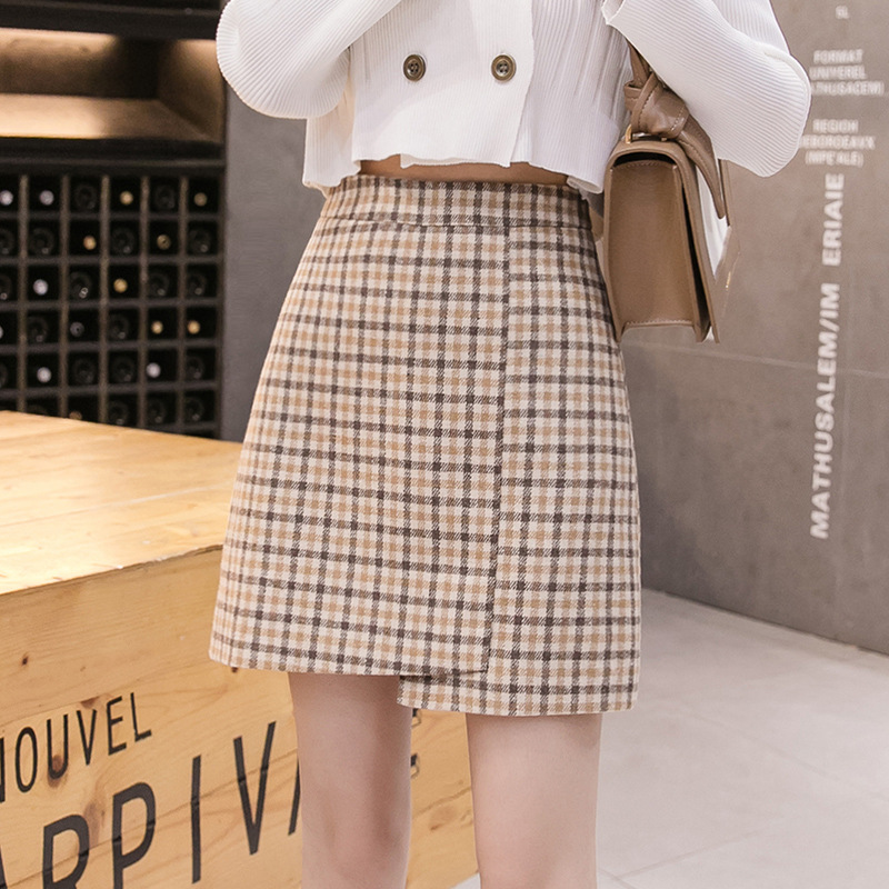 S-2xl Korean Plaid Woolen Irregular Skirt Women 2019 Autumn And Winter Women Plus Size Skirts Ladies Mini Skirt Jupe Femme