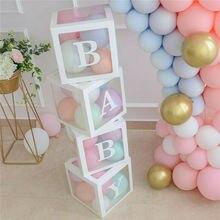 Caixa transparente de látex 4 pçs/set, diy, balão de látex, amor, blocos para meninos, menina, chá de bebê, casamento, aniversário, festa, fundos