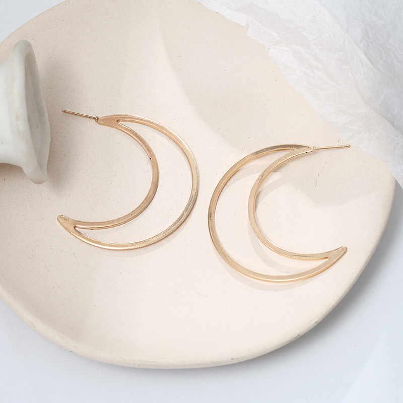 อินเดียเครื่องประดับ Minimalist Moon ต่างหู Crescent โลหะสตั๊ดต่างหูทองเงิน boucles d'oreilles Pour les Femmes