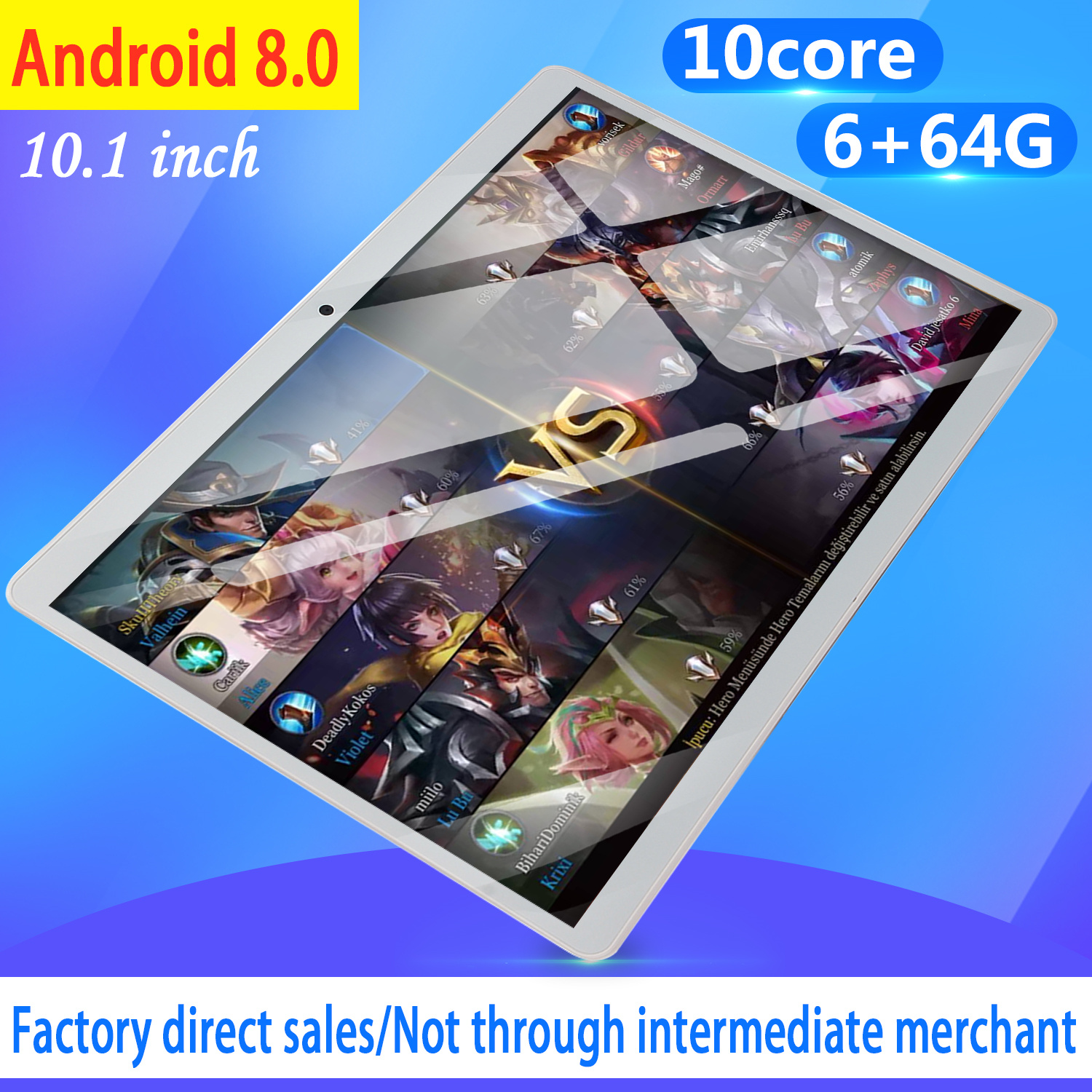 2019 Newest 10.1 Inch 4G LTE Tablet MT8752 Octa Core 6GB RAM 64GB ROM Dual SIM 5.0MP GPS Android 8.0