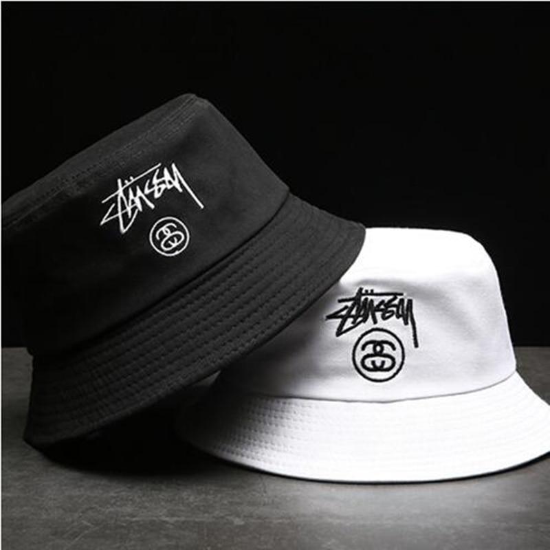 Unisex Summer Foldable Letter Embroidery Bucket Hat Women Outdoor Sunscreen Cotton Fishing Cap Men Basin Chapeau Sun Prevent Hat