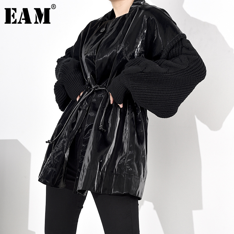 [EAM] Loose Fit Knitting Drawstring Split Big Size Jacket New Stand Collar Long Sleeve Women Coat Fashion Spring 2020 WB67801 1