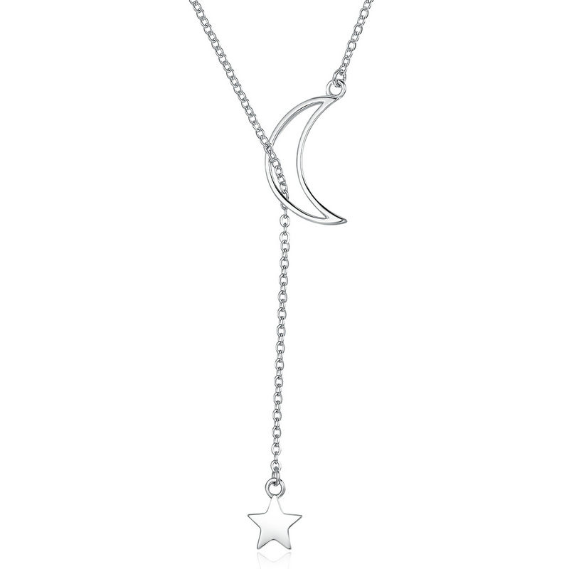 New Arrival Fashion 925 Sterling Silver Moon and Star Tales Chain Link Pendant Necklaces for Women Fine Jewelry TDO108