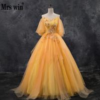 Mrs Win Quinceanera Dresses 2020 New V neck Floor length Ball Gown Off The Shoulder Vintage Party Prom Quinceanera Dress
