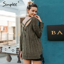 Simplee Herfst cross top Backless gebreide trui vrouwen 2018Oversized winter knitwear Losse jumpers witte trui(China)