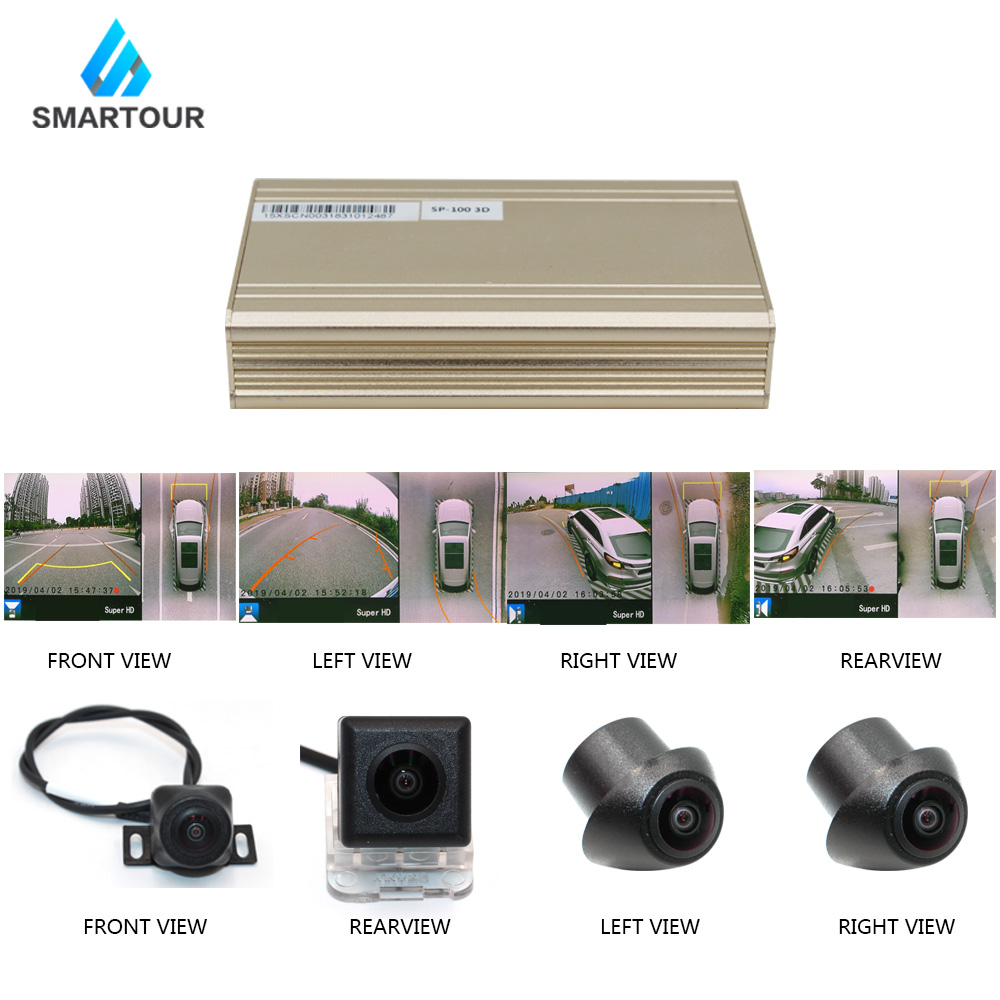 Smartour Car 3D 1080P HD 360 Degree Bird View Surround System Panoramic View All Round View Camera System With DVR Quad-core CPU