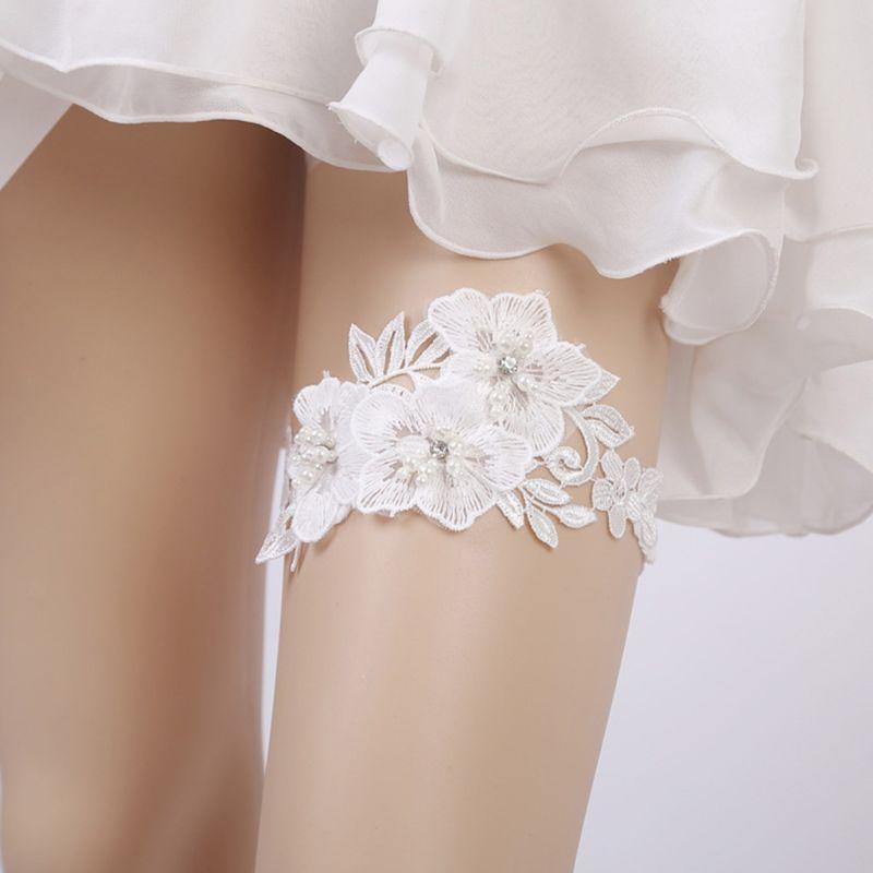 Wedding Bridal Sexy Leg Garter Embroidery Floral Lace Rhinestone Bead Thigh Ring
