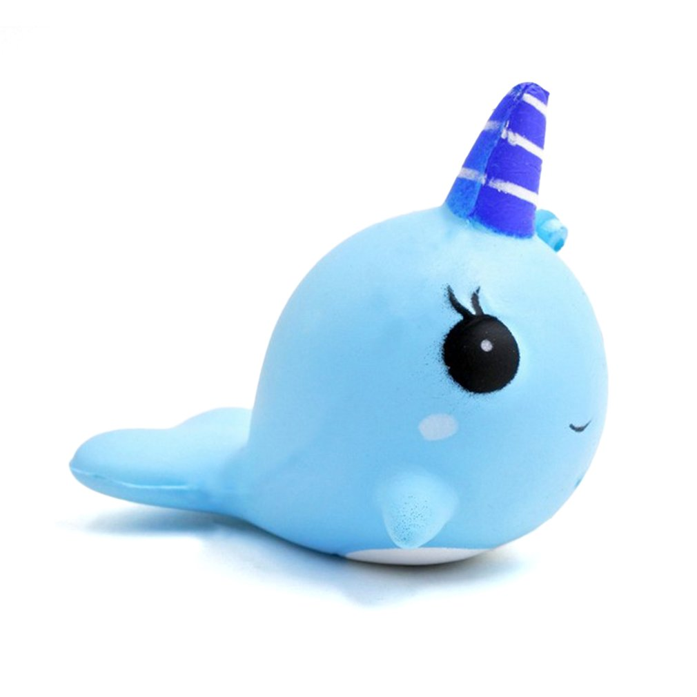 Colorful Horn Whale Slow Rising Rainbow Squishy Toys  Squeeze Scented Toy Kids Adult Office Anti Stress Reliever Toys Best Gift
