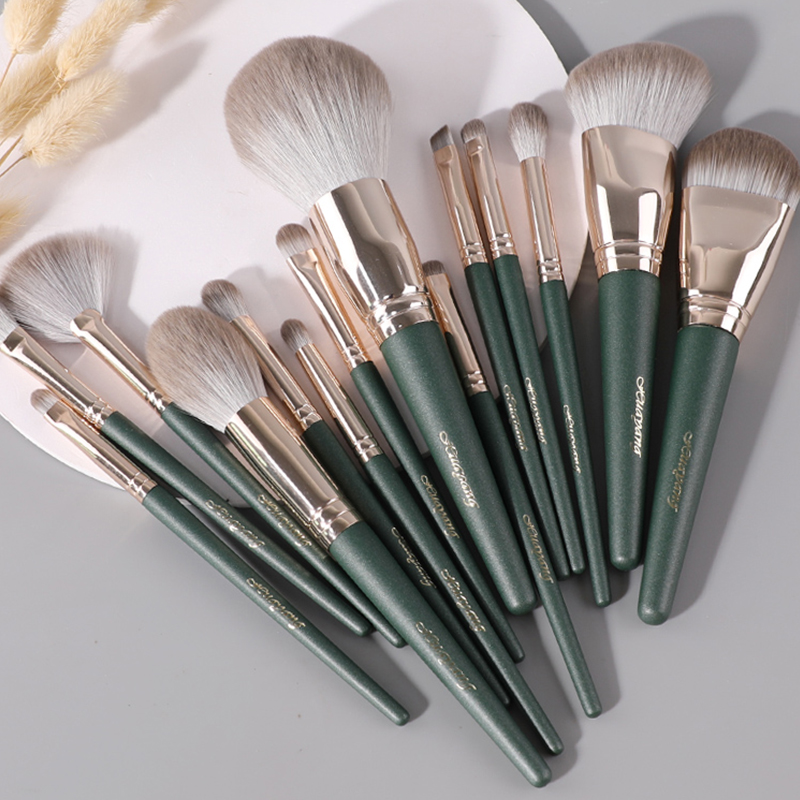 14Pcs Makeup Brushes Set Cosmetic Foundation Powder Blush Eye Shadow Lip Blend Wooden Make Up Brush Tool Kit Maquiagem