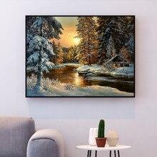 HUACAN вышивка крестиком снежное дерево Пейзаж хлопок нить картина DIY рукоделие Наборы 14CT зима украшение дома