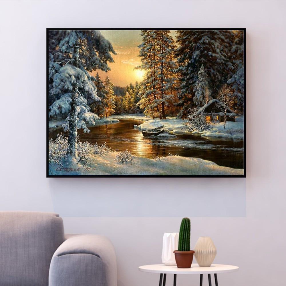 HUACAN вышивка крестиком снежное дерево Пейзаж хлопок нить картина DIY рукоделие Наборы 14CT зима украшение дома|Упаковка| | - AliExpress