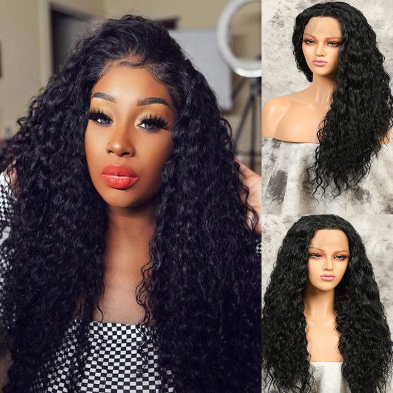 13x4 Black Synthetic Lace Front Wigs Kinky Curly Long Hair Resistant Glueless With Natural Hairline for Women With Baby Hair