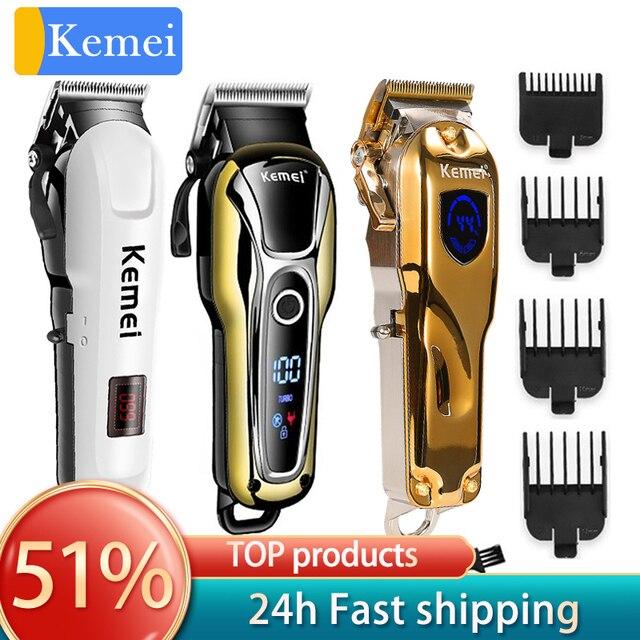 Kemei tondeuse à cheveux professionnelle électrique, outil pour coiffeur à 5 vitesses