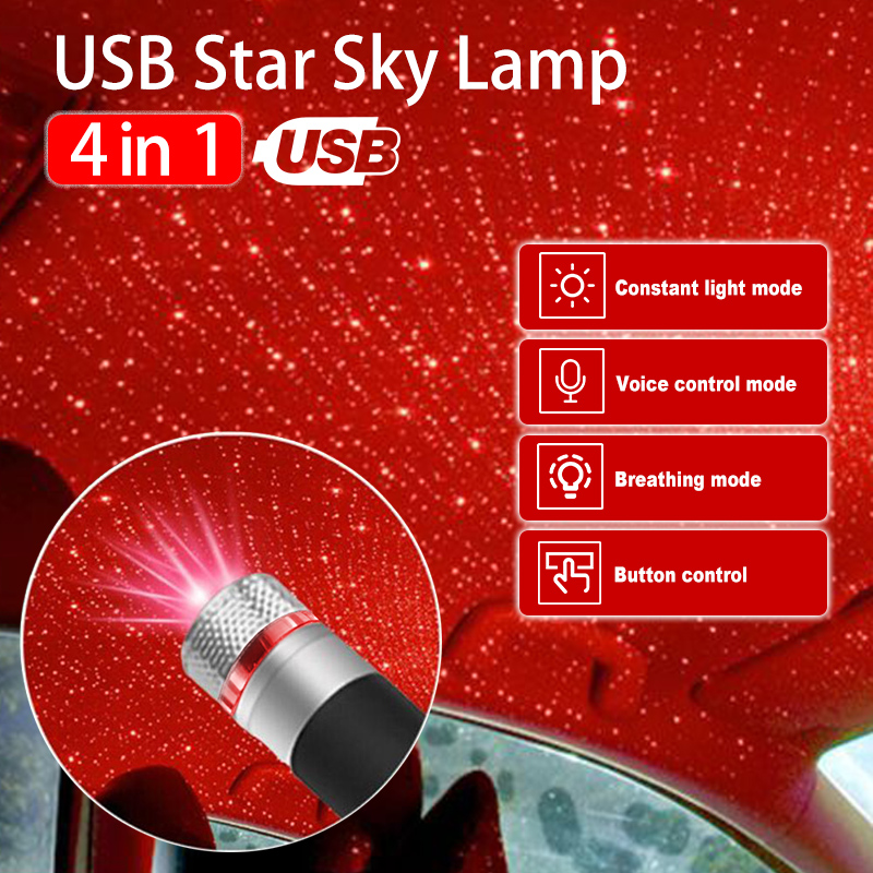 4in1 Roof Star Projection Light Romantic USB Night Light Car Atmosphere Light Adjustable And Flexible Car And Ceiling Decoration