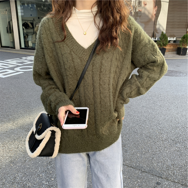 Ailegogo Knitted Women Sweater Autumn Winter Casual Female V-neck Knit Pullovers Solid Color Loose Fit Ladies Knitwear Tops 1
