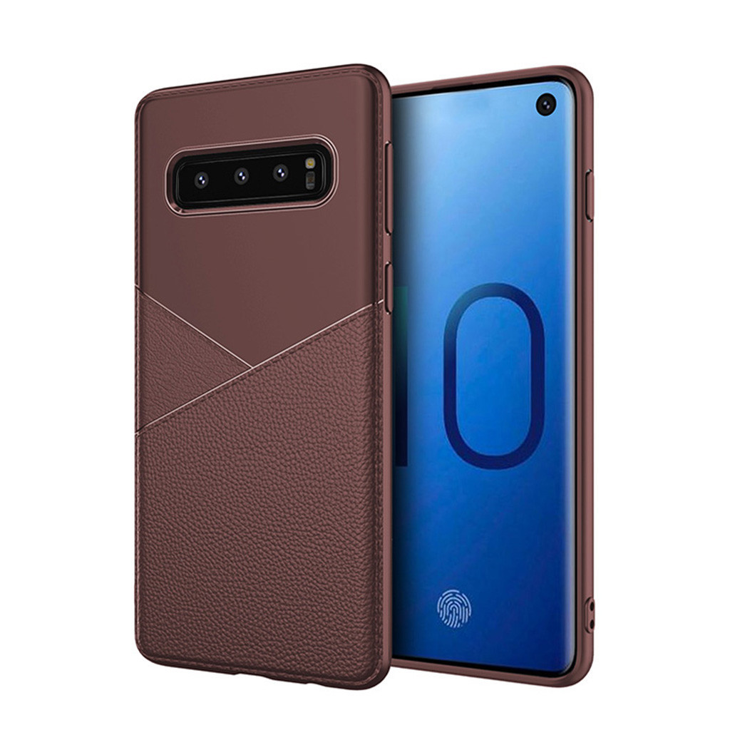 For Samsung Galaxy S10 Case Luxury Hard Matte Cover Business Style Phone Cases Leather Simple Case Non-Slip Phone Case