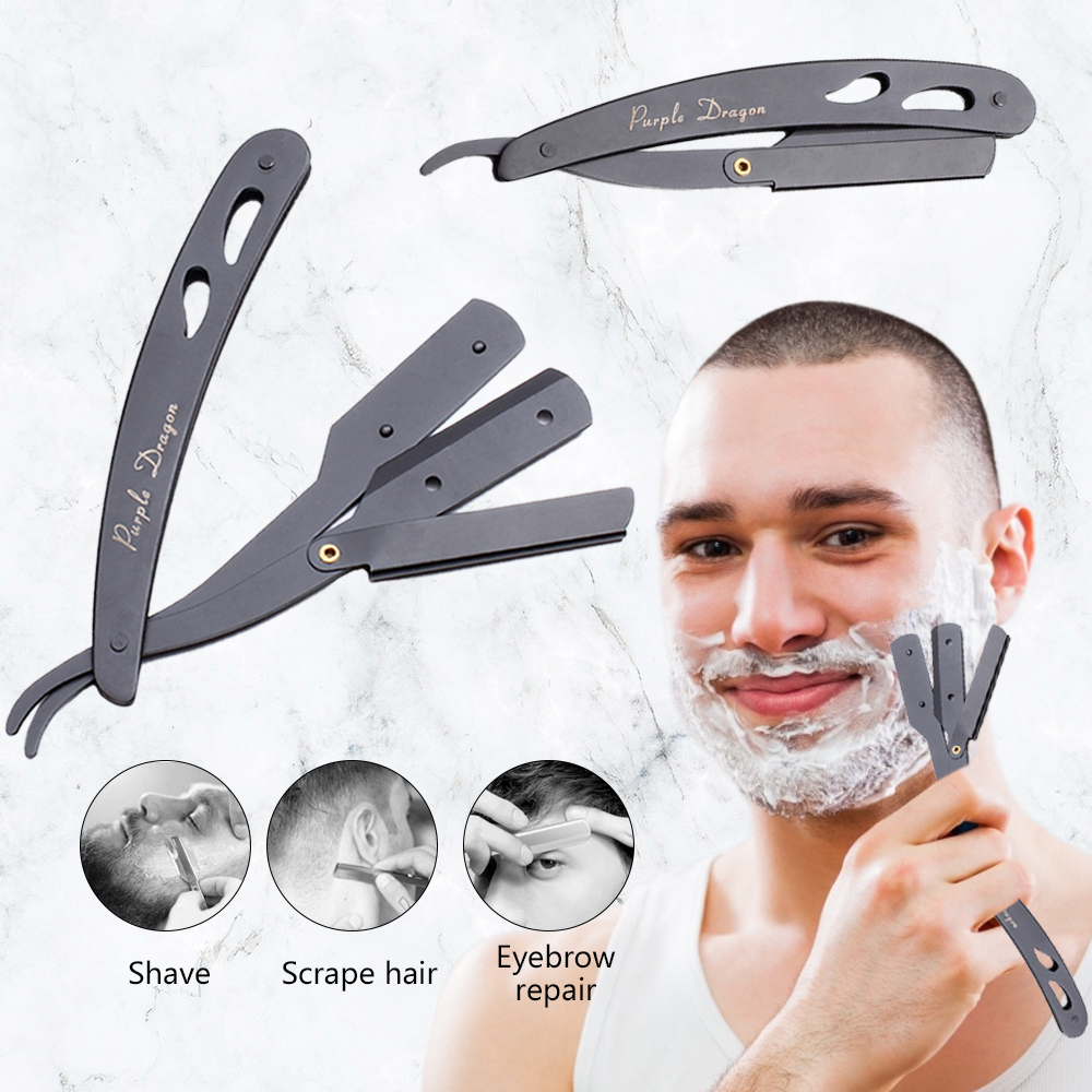 Professional Men Shaving Barber Tools Hair Razor Triple Blades Folding Shaving Knife Stainless Steel Straight Razor