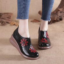 Womens Flats Platform Genuine-Leather Shoes Autumn Slip-On Casual 5cm Mon Gifts Soft