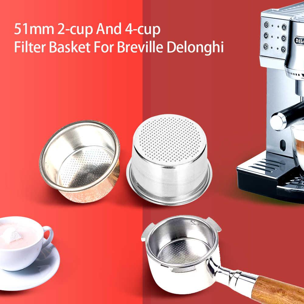 Coffee 2 Cup 51mm Non Pressurized Filter Basket For Breville Delonghi Krups