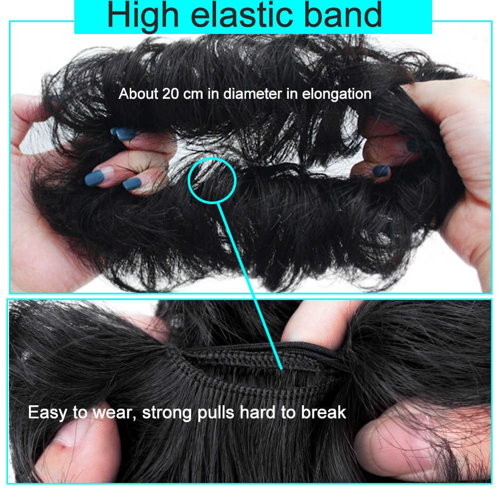 Messy Knot Voor Vrouwen haarstukje Extensions Synthetische pruik Ring Wrap Chignon Zwart Bruin Hoge Temperatuur Fiber