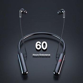 EARDECO 60 Hours Endurance Bluetooth Headphones Stereo Bass Wireless Headphone Neckband Power LED Display Headset TF Card Magnet