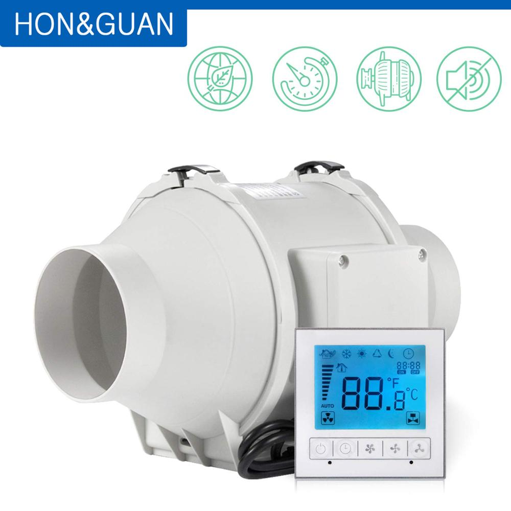 Hon&Guan 5 Inch HF-125PMZC Timer Extractor Inline Duct Fan With Smart Switch; 220~240V; Free Shipping By DHL Or UPS