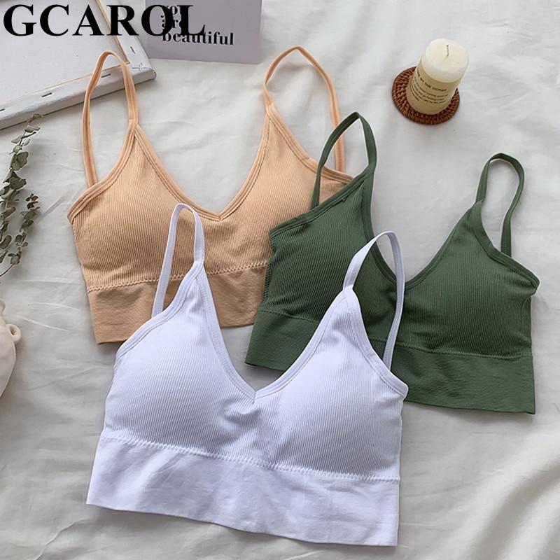 GCAROL Women V Neck Gather No Steel Ring Sports Bra Detachable Thin Shoulder Strap Sexy Push Up Stretch Hem Underwear Brassiere