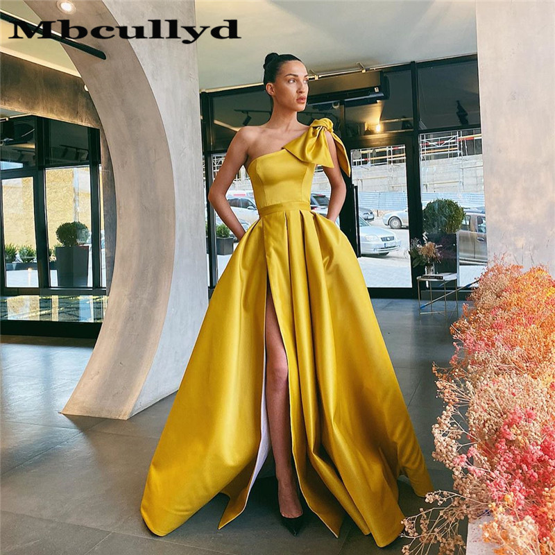 Mbcullyd Gold One Shoulder Prom Dresses Long 2020 High Split Evening Dress Party Gowns With Pocket Vestidos De Fiesta De Noche