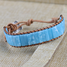 Handmade Chakra Sky blue Natural Tube Beads Stone Bracelet Leather Wrap Pierre Naturelle Bangle for Women Men Jewelry Bracelet