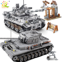 HUIQIBAO Military Series Large Panzer Tank Building Blocks Weapon WW2 Tank Army Figure City Educational Bricks Toys For Children