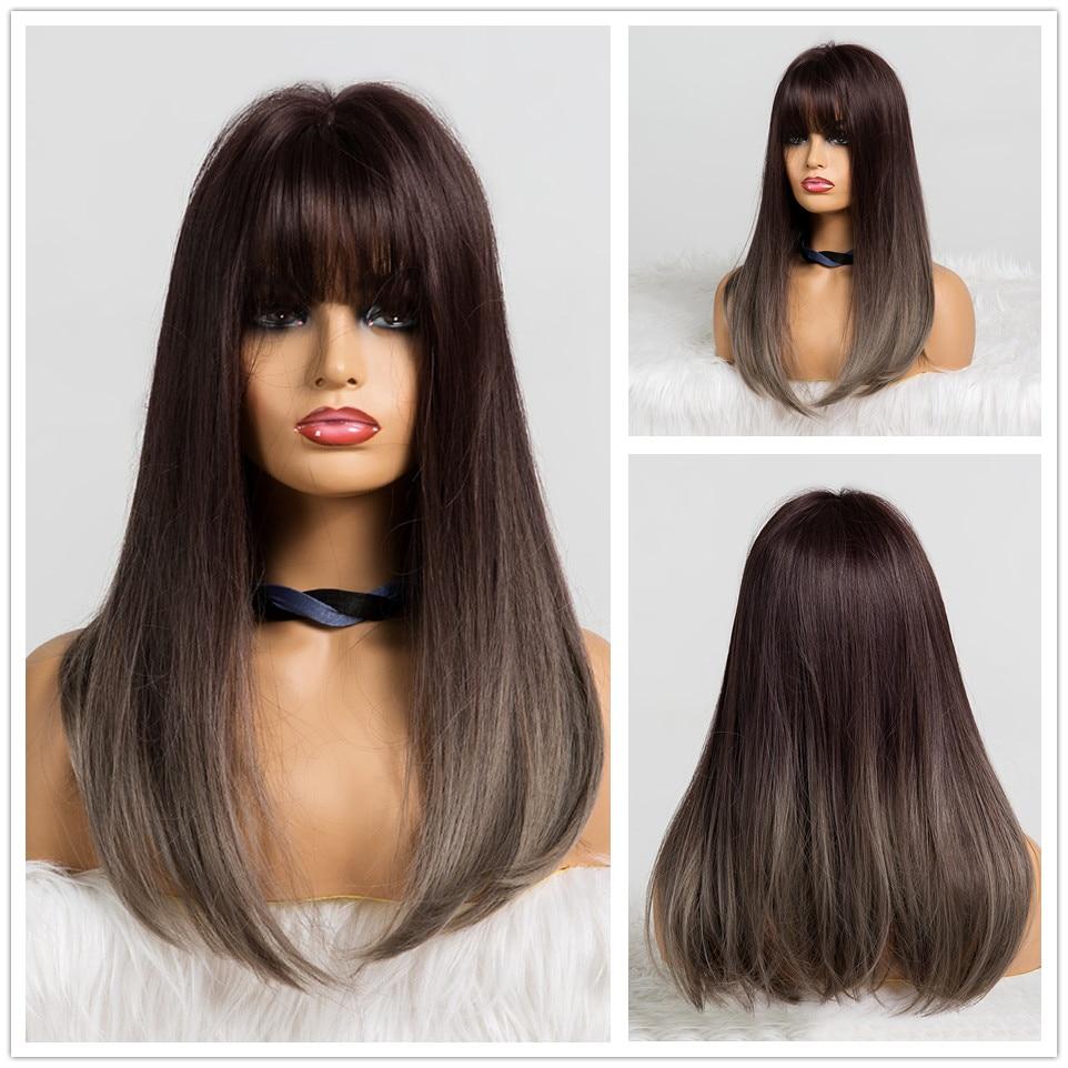 TINY LANA Synthetic Hair Air Bang Ombre Hari Wigs Gray Harajuku Cosplay Wig High Temperature Fiber Long Straight For Women