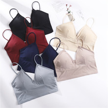 Sexy Tube Top Women Bralette Low Cut Top Fashion V Neck Tube Bra Seamless Wrapped Chest Lingerie Sexy Camis Top Underwear pink simple low cut v neck bikini top