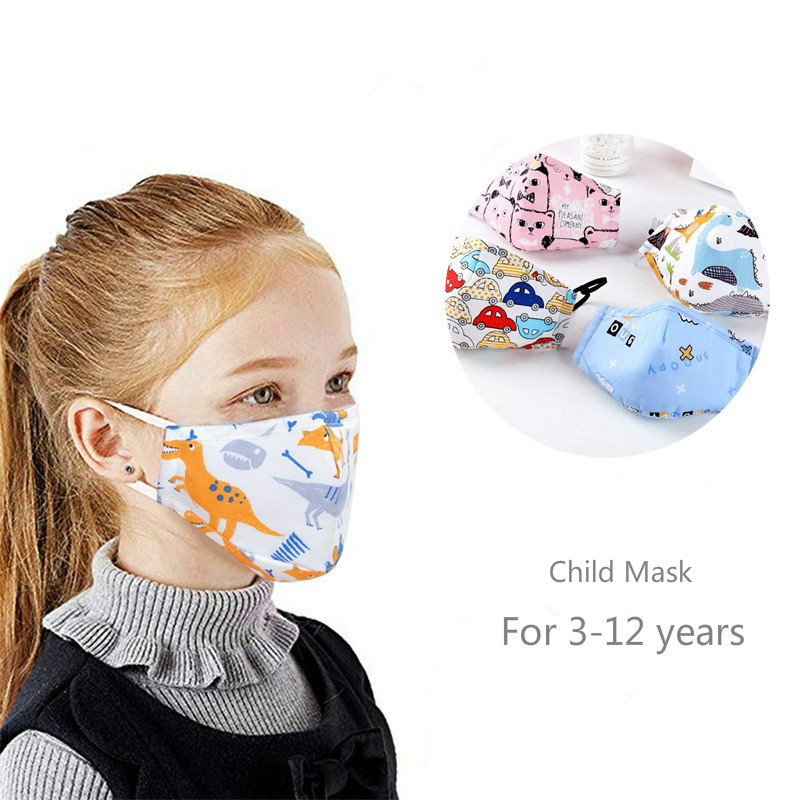 Children PM2. 5 Masks  Respirator Mask With Breathing Valve Washable Cotton Activated Carbon Filter  Masks Anti Dust Allergy