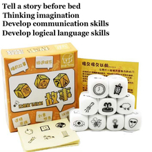 Story Dice Board-Game Parents Gift Children Party/friends Puzzle Kids with Metal-Boxes