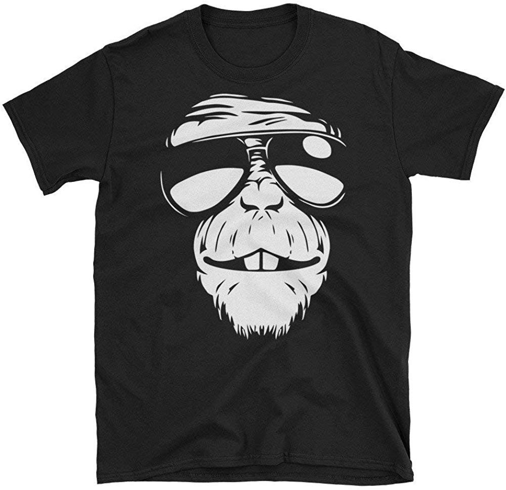 Gorilla Face Graphic Tee,Psychedelic Animal Art EDM Music Festival T Shirt Men Women Wholesale O Neck TEE Shirt image