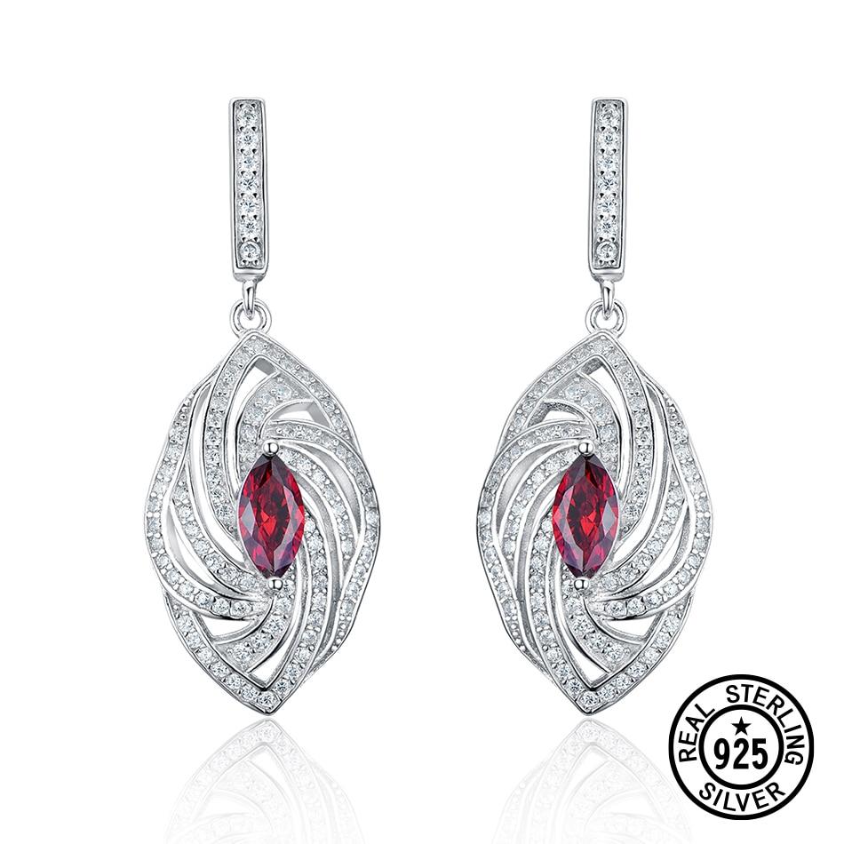 Real 925 Sterling Silver Earring Garnet Color Zircon Marquise Twist Delicate Women Earrings Anniversary Gifts Fine Jewelry