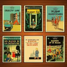 Vintage aventuras De Tintín cartel Les Bijoux De La Castafiore clásico Kraft pinturas De pared hogar Decoración regalo