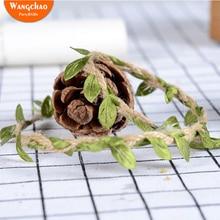 Купить с кэшбэком 11 Yards Simulation Green Leaves Weaving Hemp Rope DIY Wedding Birthday Wedding Decoration Rattan Gift Bouquet Packaging Rope
