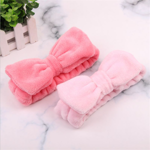 Image 4 - Flanel Cosmetische Hoofdbanden Zachte Strik Elastische Haarband Hairlace Voor Wassen Gezicht Douche Spa Makeup Tools