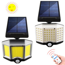 Solar Powered COB Wall Lamp Remote PIR Motion Sensor Security Light IP65 Courtyard Street Light 18650 Rechargeable Camping Lamp