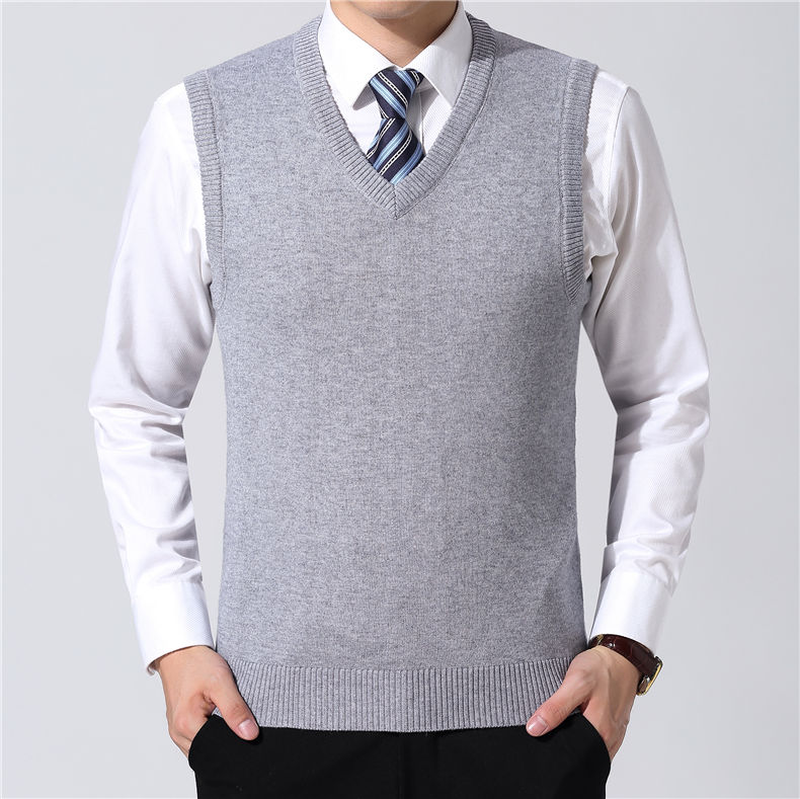 Zogaa Sweater Vest Men 2019 Autumn Winter Warm Cashmere Knitwear V-Neck Sleeveless Vest Sweaters Homme Classic Casual Pullover