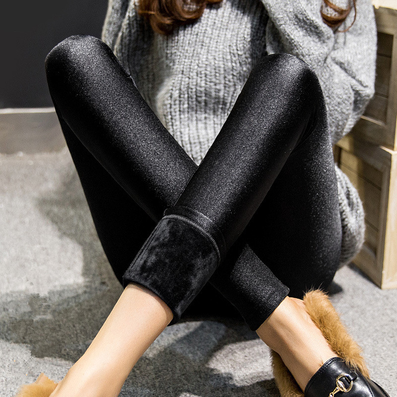 Autumn Winter Women's Leggings Outside Wear Leggings Girl's Thicker Plus Cashmere Slim Was Thin Warm Pants X-3xl Size Leggings
