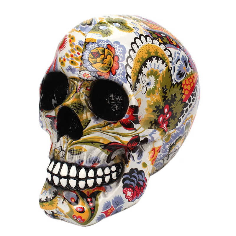 Horror Skull Decoration Resin  Skull Color Flower Painting Halloween Home Bar Table Desktop Decoration Craft Gift|Figurines & Miniatures| |  - title=