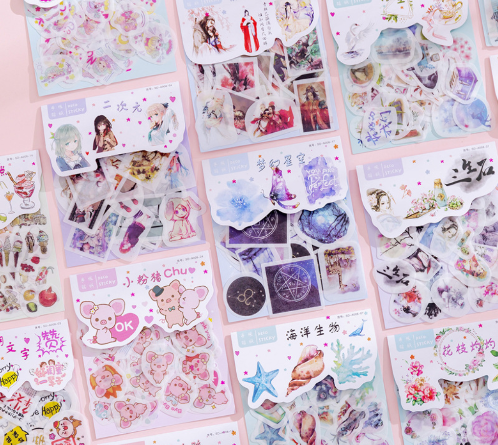 40pcs Kawaii Bullet Journal Sticker Sheets Cute Korean Planner Label Aesthetic Stickers Handmade Stationery Adesivi Scrapbooking