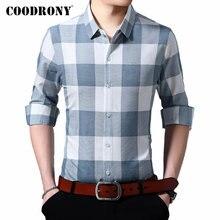 COODRONY Brand Men Shirt Long Sleeve Pure Cotton Shirt Men Clothes Fashion Plaid Business Casual Shirts Camisa Masculina 96105 цена