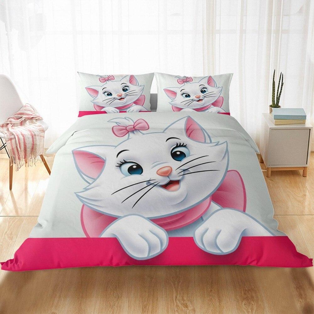 Parure de lit dessin animé Disney   Jolis ensembles de literie, reine, linge de lit double, enfants filles, housse de couette, taie d'oreiller, couette, ensemble de literie